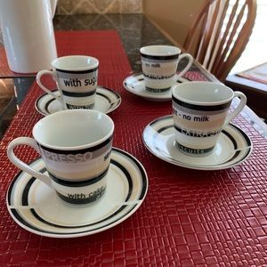 Kitchen - Set of Four Demitasse Cups & Saucers
